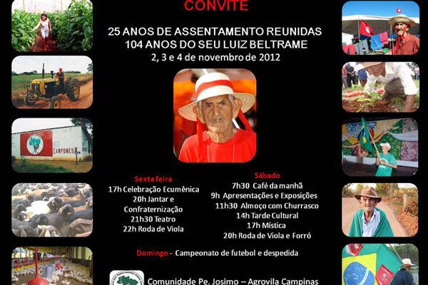 Assentamento Reunidas comemora seus 25 anos e os 104 de Seu Luiz Beltrame