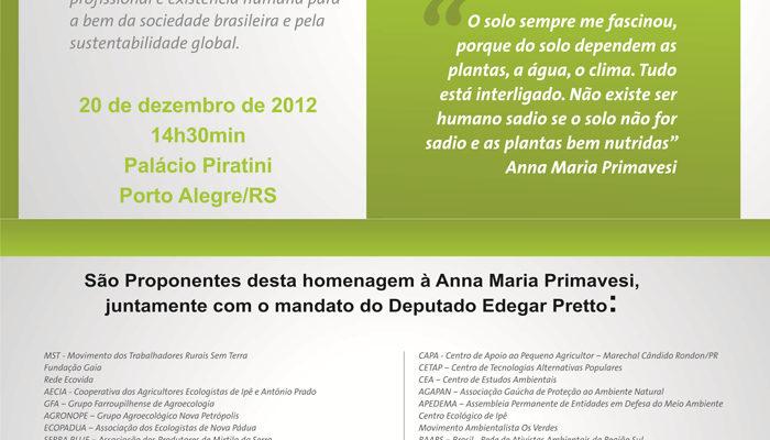 Anna Primavesi recebe homenagem no Palácio Piratini em Porto Alegre