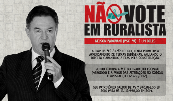 Nelson Padovavi, o ferrenho candidato ruralista anti-indígena