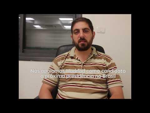 Ubai Aboudi em solidariedade à candidatura de Fernando Haddad.