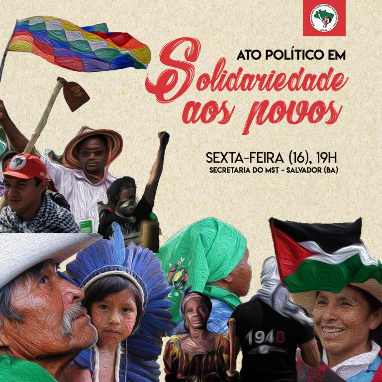 MST realiza na Bahia ato político em solidariedade aos povos