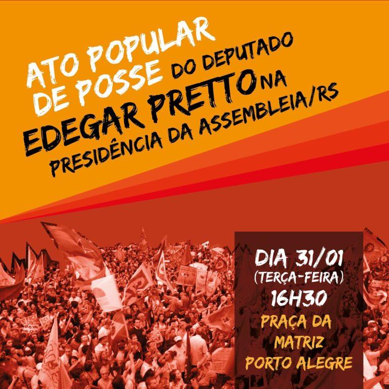 Movimentos promovem Ato Popular de Posse do deputado Edegar Pretto