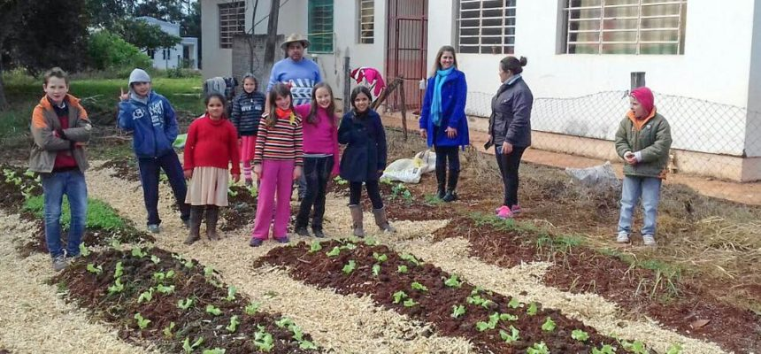 Educandos 'adotam' canteiros de hortaliças no Rio Grande do Sul