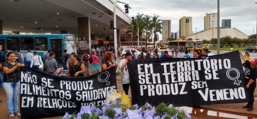 Em ato, mulheres Sem Terra distribuem alimentos da Reforma Agrária em Brasília