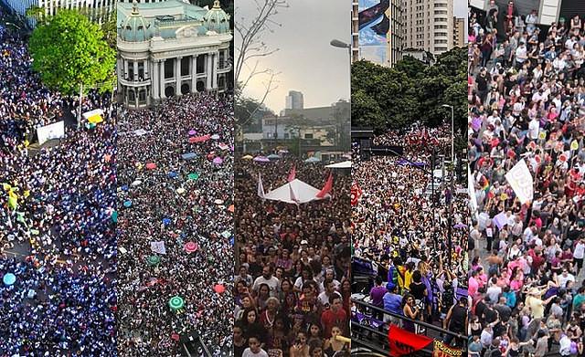 Mulheres lideram atos contra Bolsonaro no Brasil e no mundo