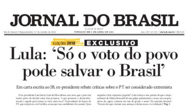 Em carta, Lula rebate críticas sobre o PT