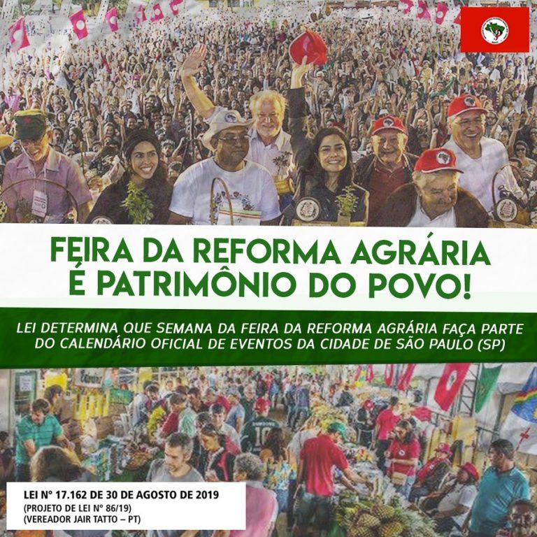 Agora é lei! Feira da Reforma Agrária entra no calendário oficial de eventos de SP