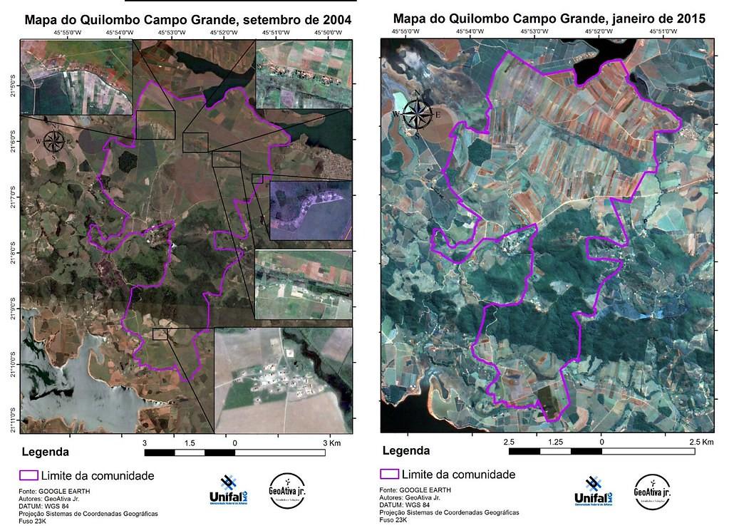 A primeira imagem é de 2004 e a segunda de 2017.  Após a ocupação, a área foi dividida em lotes produtivos.jpg