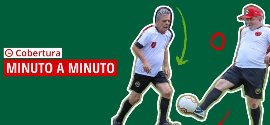 Lula e Chico Buarque participam de jogo de futebol em campo do MST
