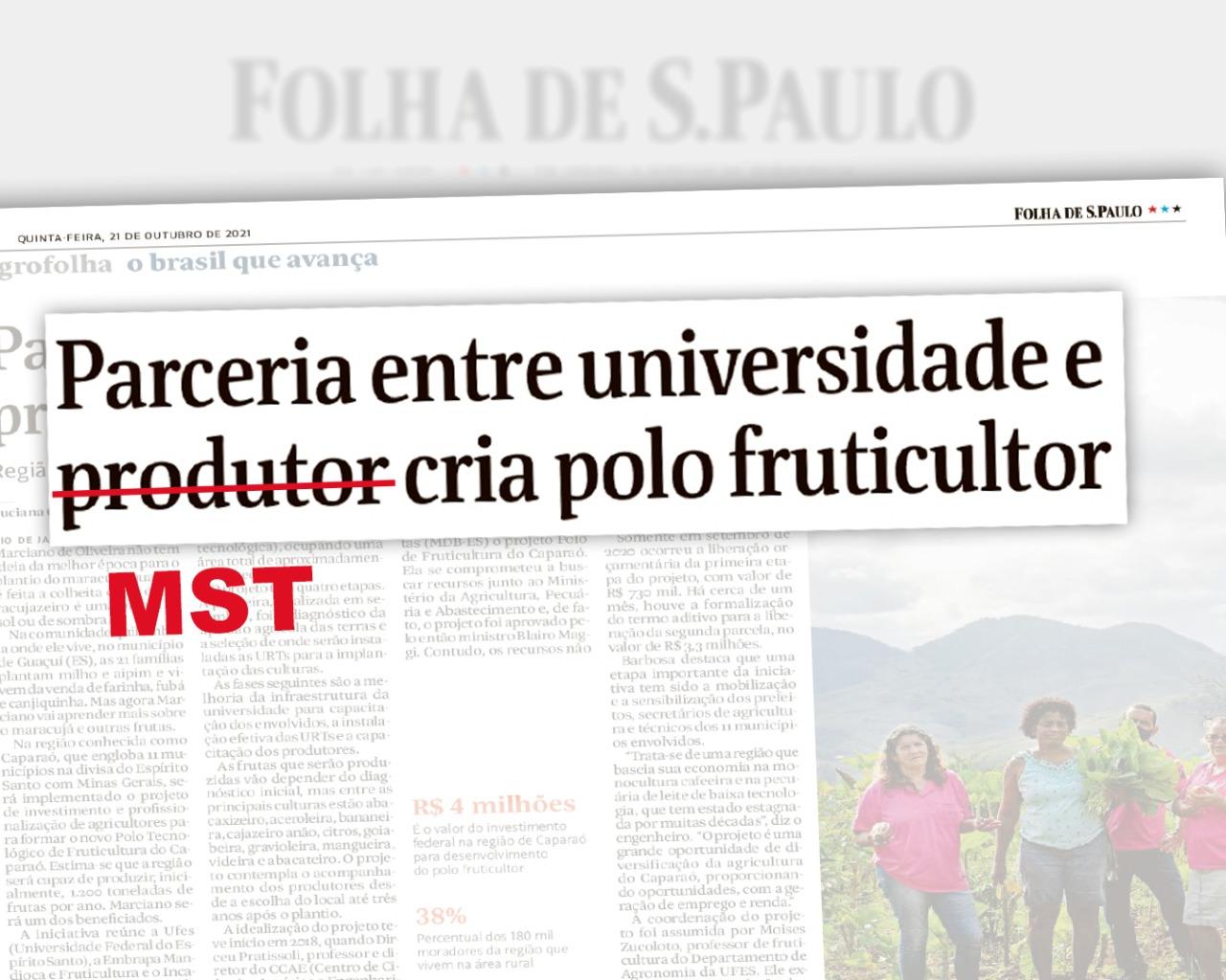 Folha de S. Paulo omite que experiência produtiva no Espírito Santo é do MST