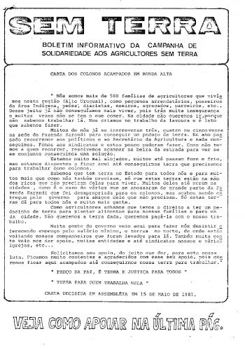 Boletim Sem Terra Nº 01/1981